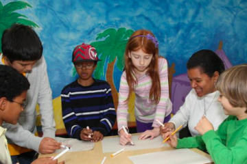 kids in the Young Scholars program at work