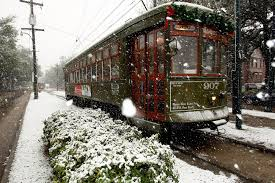 streetcar in snow