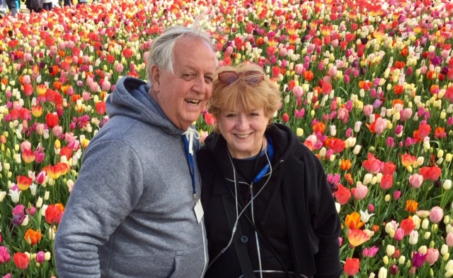 Keith and Millie with tulips.