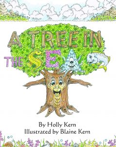 Book cover illustration by Blaine Kern for the book A Tree in the Sea